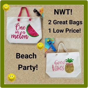 Beach Tote Canvas Bags (Set of 2)